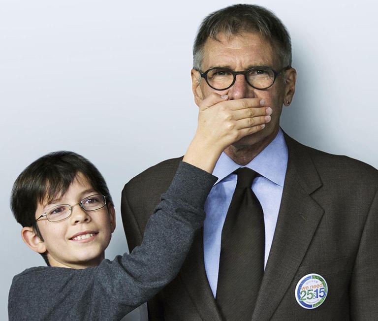 "Felix Finkbeiner y el actor Harrison Ford para ""Stop Talking, Start Planting"""