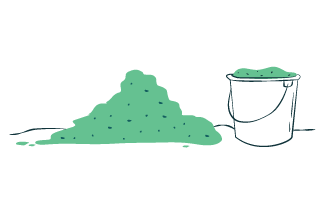 Illustration of bucket filled with fermented agave next to pile of fermented agave